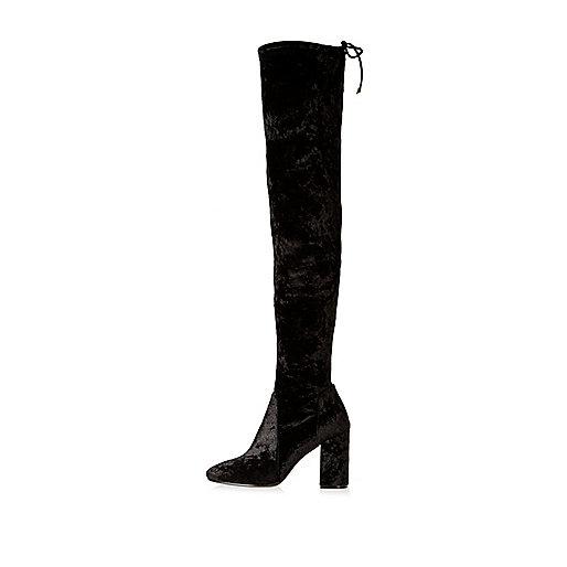 Black velvet over the knee heeled boots