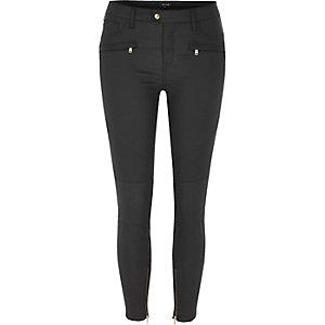 Black coated Amelie super skinny biker jeans