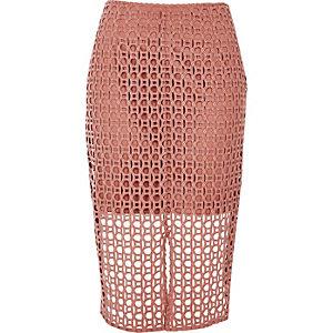 Pink circle lace pencil skirt