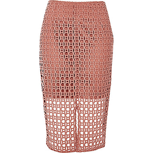 Pink circle lace pencil skirt