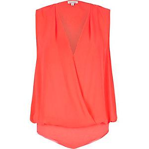 Pink wrap blouse bodysuit