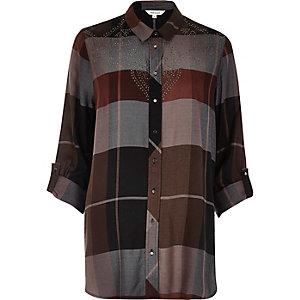 Grey check stud shirt