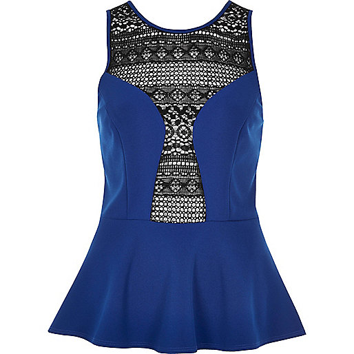Blue crochet panel peplum top