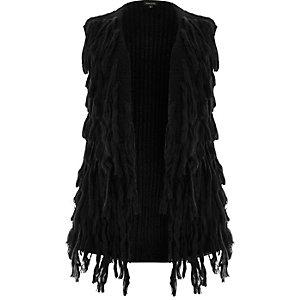 Cardigan duveteux noir sans manches Plus