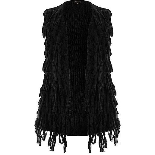 Plus black sleeveless shaggy cardigan