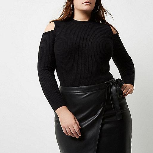 Top Plus noir côtelé style épaules dénudées