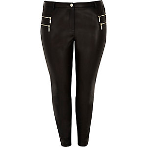Plus black leather look zipped pants