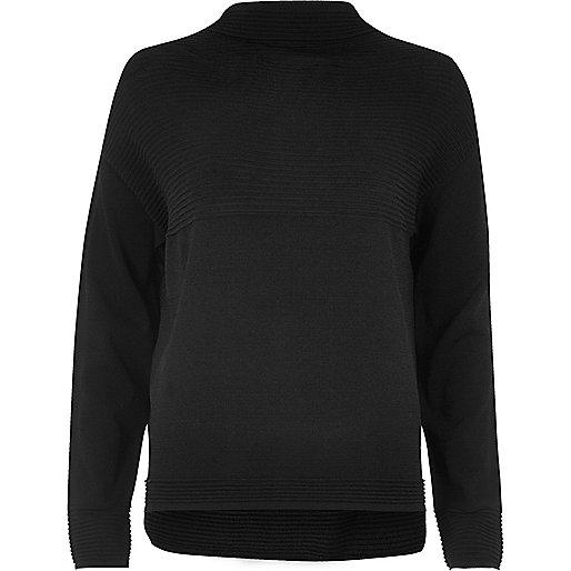 Black ribbed knit jumper