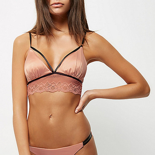 Pink satin lace non wired bralet