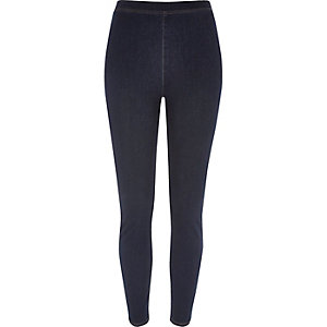 Dark blue wash denim look high rise leggings