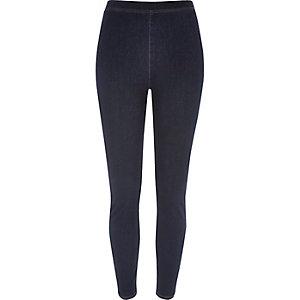 Dark blue wash denim look high rise leggings
