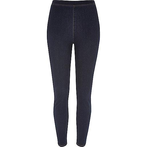 Legging imitation jean bleu foncé taille haute