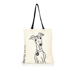 Beige Whippet print shopper bag
