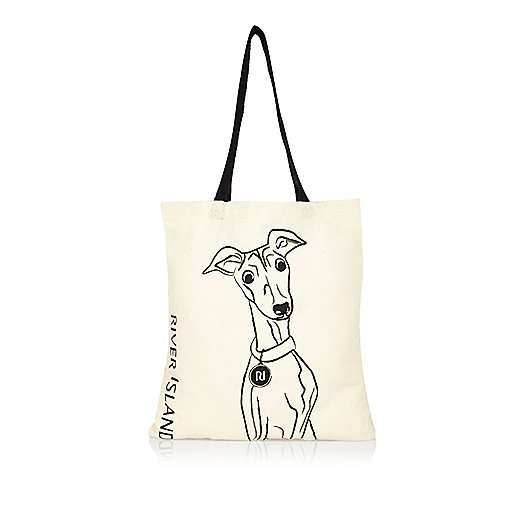 Beige Whippet print shopper bag