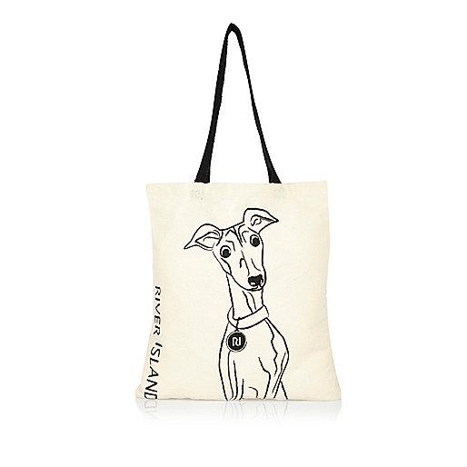 Beige shopper met Whippet-print
