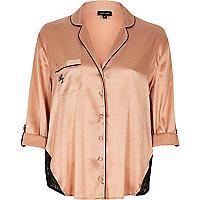 Pink satin lace panel pajama shirt