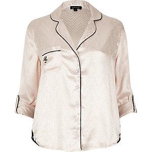 Cream lace detail pyjama shirt