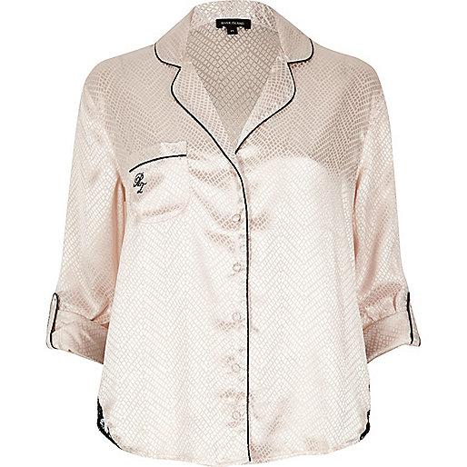 Pyjama-Hemd in Creme mit Spitzendetails
