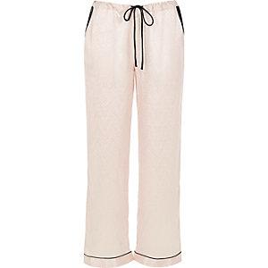 Cream lace trim pyjama trousers
