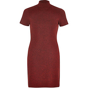 Red marl turtleneck tunic