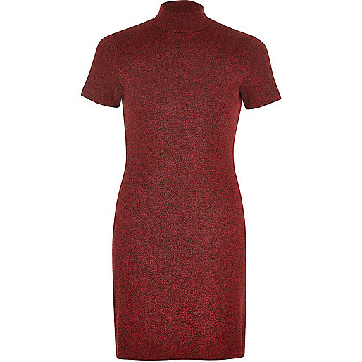 Red marl turtleneck tunic