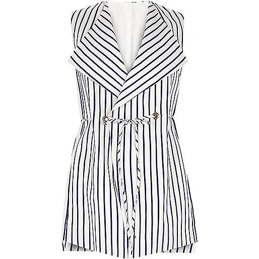 RI Plus navy stripe sleeveless jacket