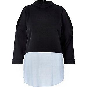 Navy layered cold shoulder top