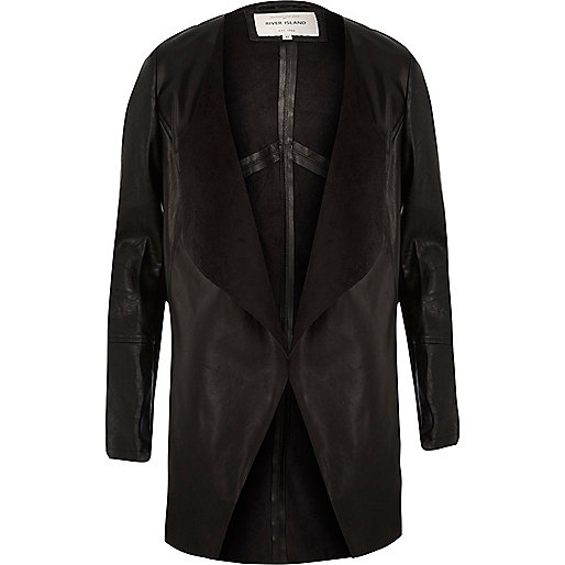 Black leather look open front jacket