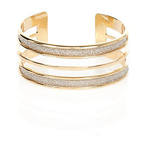 Gold tone glitter multi row bangle