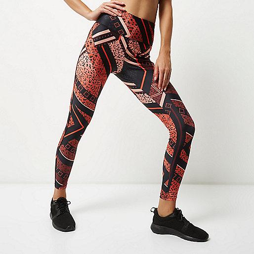 RI Active orange print sports leggings