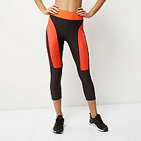 Dark grey block panel capri sports leggings