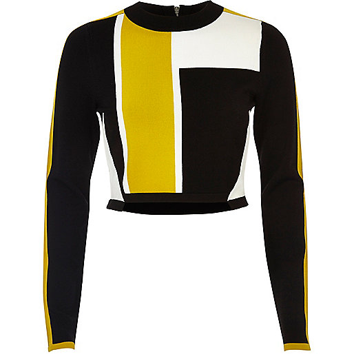 Crop Top colour block noir
