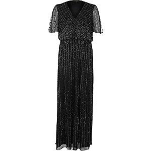 Black embellished chiffon maxi dress