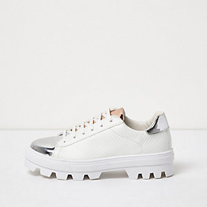White metallic trim cleated sole sneakers
