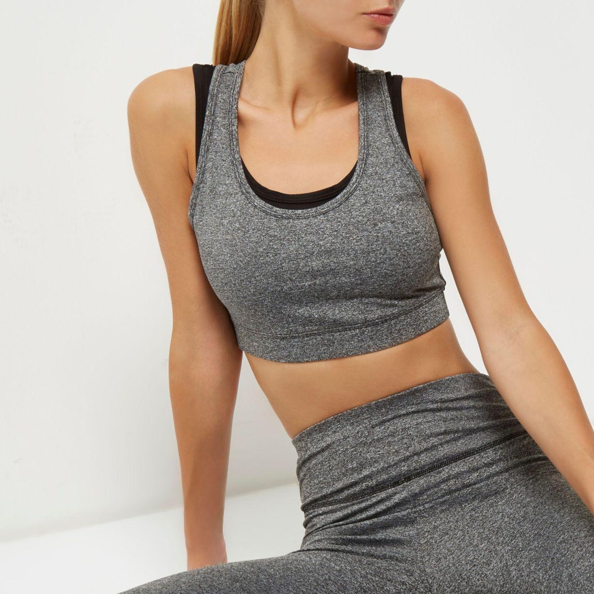 RI Active grey mesh layered sports bra