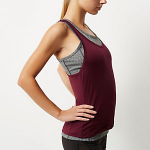 RI Active burgundy double layer gym tank