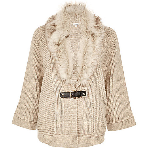 Oatmeal faux fur trim cape cardigan