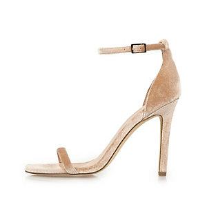 Minimalistische nude fluwelen sandalen met hoge hak