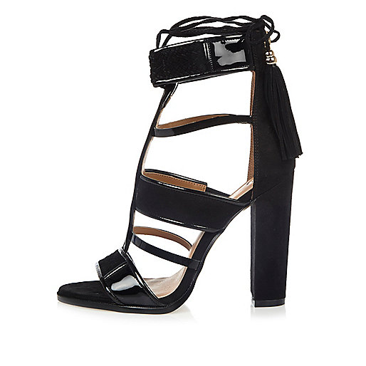 Black caged T-bar block heels