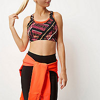 RI Active orange mesh layered sports bra