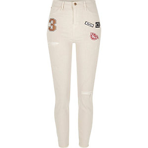 Ecru Lori high rise badge skinny jeans
