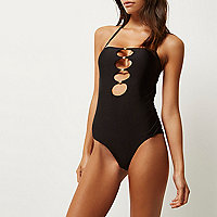 Black knot bandeau swimsuit