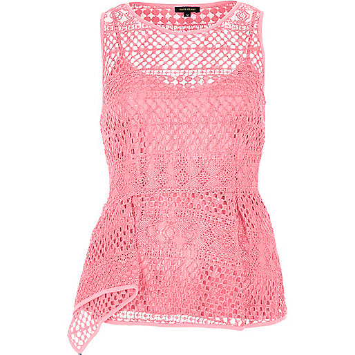 Pink lace peplum top