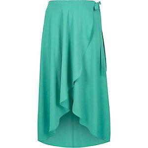 Plus turquoise wrap maxi skirt