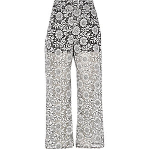 Black print lace trousers