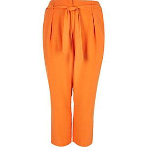 RI Plus orange soft tie tapered trousers