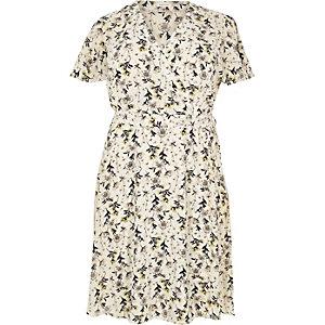 RI Plus cream floral print frill dress