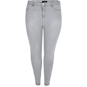 RI Plus grey frayed Molly jeggings