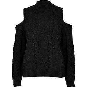 Zwarte schouderloze gebreide pullover met kabelpatroon