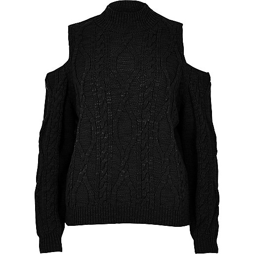 Black cold shoulder cable knit jumper